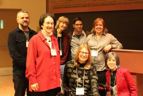 From left: Crispin Thurlow, Naomi Baron, Deborah Tannen, Jannis, Susan Herring, Anna Trested, Cala Zumbair