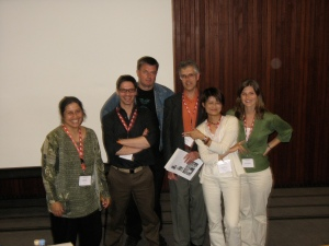 ISB 6. From left, Mela Sarkar, Jannis, Tony Mitchell, Mark Sebba, Angel Lin, Christina Higgins
